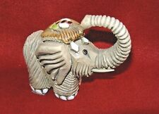 Clay Elephant Figurine with Enamel Accents Made in Uruguay