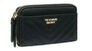 VICTORIAS SECRET PEBBLED V-QUILT CREDIT CARD CASH CASE SLIM WALLET ZIPPER BLACK