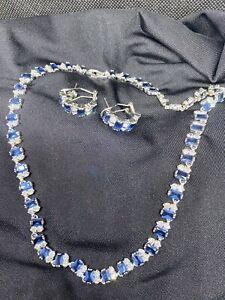 Sapphire And Zirconia Semi Precious Gemstones Necklace With Hoop Earrings