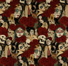 Nocturna- Alexander Henry Fabric-Day of the Dead-Sugar Skulls-Pinup-Roses
