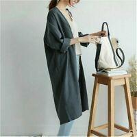 Women Long Loose Vintage Linen Jacket Outerwear Top Casual Cardigan Baggy Coat