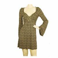 Atos Lombardini beige & black above knee deep V mini length viscose dress Sz 40