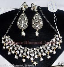 15.16ct POLKI ROSE DIAMOND ANTIQUE VICTORIAN 925 SILVER EARRING NECKLACE SET