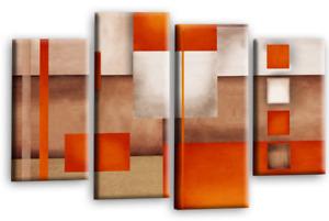 Le Reve Large Abstract Canvas Art Orange Cream Grey Checks Wall Print 4 Panels