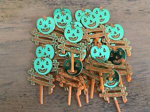 Vintage Halloween Pumpkin JOL Cupcake Picks Toppers Lot Of 24