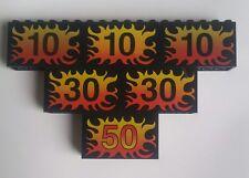Lego Speciality Bricks Black 2x6x3 Racing  Flame Speed Signs 10 30 50
