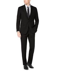 Kenneth Cole Mens Suit Black Size 44 Slim Fit Performance 2 Piece Wool $395 #115