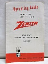 Vintage Zenith Portable Record Changer Operating Guide A507 Solid State Player