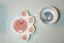 Sleeping Grey Tabby Cat Kitten Coffee Tea Measurment Cup Mug & Saucer Orange Paw