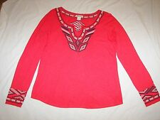 """Women's Lucky Brand """"Live In Love"""" Stretch Top with Embroidery Trim  - L"""