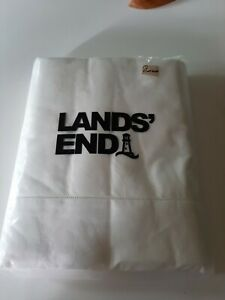 NWT Lands End Queen 60Z Solid ivory Flannel Flat Sheet