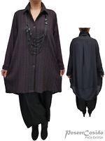 LAGENLOOK ❷ Long-Bluse Shirt Tunika Hemd 44 46 48 50 52 54 56 58 L-XL-XXL-XXXL