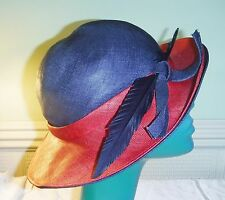 S CHIC PAULINE BERMONA TREND VINTAGE DOUBLE BRIM STRAW HAT NAVY BLUE RED FEATHER
