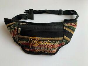 NEW Handmade Andean Fanny Pack Peru sling belt waist bag black brown earth unise