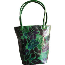 Swank Bags Handmade Printed Leather Tote Bag Flowers/Leaves AB-LB05