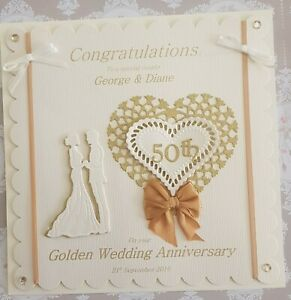 Large Luxury 8x8 inch Personalised 3D 50th Golden Wedding-Anniversary Card