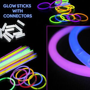15/25/50 Pack Glow Stick Bracelet Collection Dance Party Light with Connectors