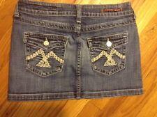 Women's Vigoss Stretch Thick Stitch Distressed Back Flap Denim Mini Skirt Sz 1