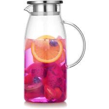 Artcome 60 Oz Glass Iced Tea Pitcher Hot/Cold Water Jug, Juice Beverage Carafe