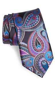 New ERMENEGILDO ZEGNA #176 Quindici Paisley Silk Tie, Black