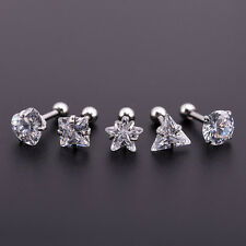 Zircon Crystal Ball Tongue Lip Bars Rings Steel Barbell Ear Stud Body Piercing