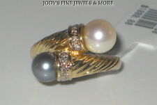 SPECTACULAR ESTATE 14K YELLOW GOLD DOUBLE NATURAL PEARL & DIAMOND RING Sz 7.25