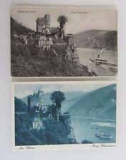 2x Gruss vom Rhein Burg Rheinstein bei Trechtingshausen AK ~1910/30 Rhein Schiff