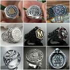 Fashion Norse Viking Axe Compass Rings for Men Stainless Steel Jewelry Size 7-13 photo