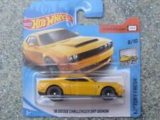 Hot Wheels 2018 #319/365 Dodge Hemi Challenger Srt Démon Jaune Nouveau Fonte