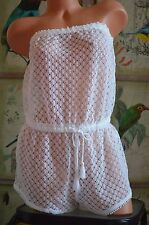 Victoria's Secret swim cover up pretty white crocheted romper 1 pc S draw waist
