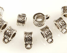 30 X ANTIQUE SILVER~ROUND~BAILS~TIBETAN STYLE~BEADS, 9 x 6 x 4.5 MM~ 3.5 MM HOLE