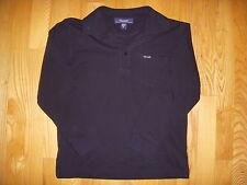 Façonnable Boy's Long Sleeve Piqué Cotton Polo Shirt Black