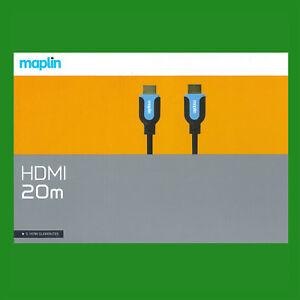 Maplin HDMI to HDMI 20m Cable Gold-plated v2.0 HDTV UltraHD HD 1080p 4K 2K 3D