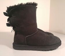 UGG Australia Bailey Bow Double Black Boots Womens, Size: 8