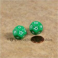 Set of 2 Green D12 Jester Dice (0 to 10) 12 Sided RPG Die Koplow 18mm