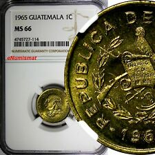 Guatemala Brass 1965 1 Centavo NGC MS66 TOP GRADED BY NGC KM# 265