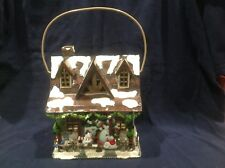 New Home Interior Christmas Cottage Snowman Lantern With Swinging Handle