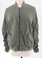 Free People Womens Bomber Jacket Army Green Ruched Sleeves Back Zipper Close S