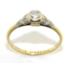 da donna / donna,18ct oro vintage set anello con diamanti, misura UK K 1/2