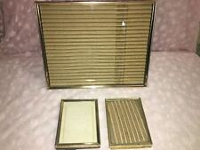 """3 gold metal embossed photo picture frames shabby chic wedding 3x4"""" 8x10"""" MCM"""