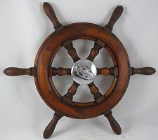 "Antique salvaged Trojan Helm Wheel  Ship wheel   20"" Mahogany"