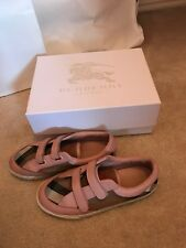 Authentic Girls Burberry Logo Shoes Size 35