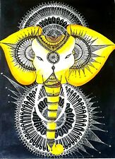 ORIGINAL PAINTING LUCKY ELEPHANT OIL CANVAS ART HAND PAINTED MODERN WALL PAINTS