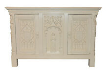 Antique French Gothic Cabinet, Painted White, 1920's, Oak