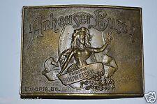 Vintage Budweiser Beer Anhesuer Busch Solid Brass Belt Buckle Minty Rare