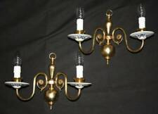 VINTAGE PAIR DELFT WALL LIGHTS BLUE ON WHITE BRASS & CERAMIC SCONCES. (oc4a)