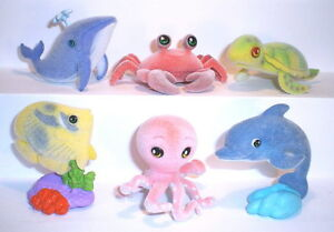 Velvety (flocked) toy - PET ZOO - SEA WORLD - Complete set + 6 Cards + BPZ