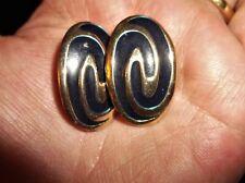 Vintage Elegant clip on earrings gold tone ovale Navy Metallic enamelled Swirl