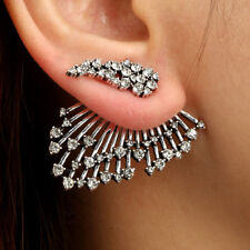 Mens Womens Ear Stud Crawler Earrings Cuff Climber Wrap Rhinestone Clip 1Pcs