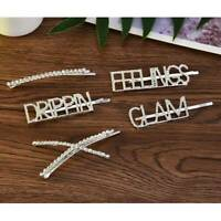 Women Girls Rhinestone Hair Clip Diamond Words Crystal Letters Hair Pin Hairclip